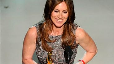 "Kathryn Bigelow accepts the Oscar for best achievement in directing for ""The Hurt Locker"" at the 82nd Academy Awards Sunday, March 7, 2010, in the Hollywood section of Los Angeles. (AP Photo/Mark J. Terrill)"