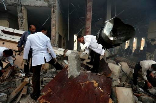 (AP Photo/Osamah Abdulrhman). Medics search for bodies under the rubble of a funeral hall that was targeted by a Saudi-led coalition airstrike in Sanaa, Yemen, Saturday, Oct. 8, 2016. Yemeni security and medical officials say at least 45 people have be...
