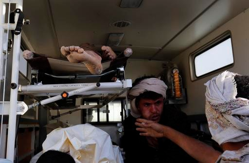 (AP Photo/Osamah Abdulrhman). Bodies of victims of a Saudi-led coalition airstrike are loaded in an ambulance, in Sanaa, Yemen, Saturday, Oct. 8, 2016. Yemeni security and medical officials say at least 45 people have been killed in a Saudi-led coaliti...
