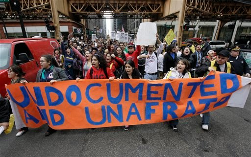 Hundreds of young people participate in a youth immigration rally, Wednesday, March 10, 2010, in Chicago.