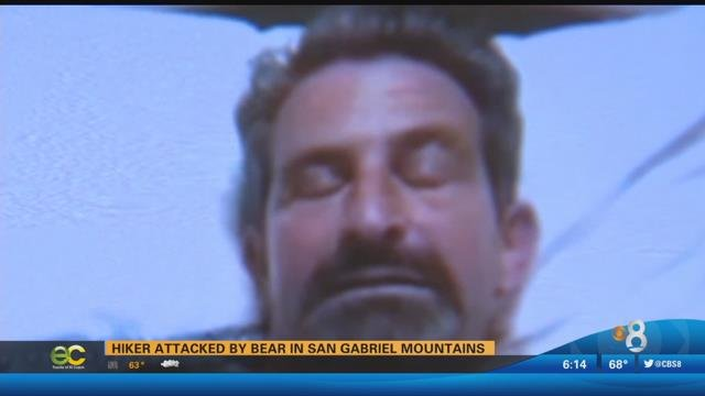 Dan Richman, seen in this video image, is recovering, after being attacked by a bear in the San Gabriel Mountains.