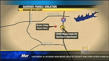 Records show parole officials found John Albert Gardner III was illegally living within a half-mile of a school in September 2007.