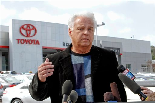 Driver James Sikes talks about his experiences in his Toyota Prius during a news conference held at Toyota of El Cajon Tuesday, March 9, 2010, in El Cajon, Calif.