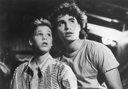 """A 1987 photo provided by Warner Brothers shows Corey Haim, left, and Jason Patric in a photo from the movie """"The Lost Boys""""."""