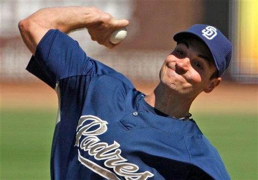 San Diego Padres starter Chris Young works against the Cleveland Indians in the first inning of a spring training baseball game Sunday March 14, 2010 in Peoria, Ariz. Young pitched three and two thirds innings allowing 2 runs. (AP Photo/Lenny Ignelzi)