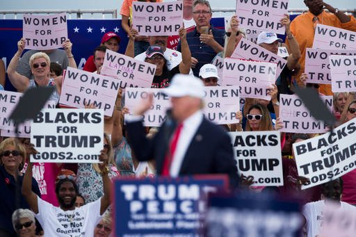 (AP Photo/ Evan Vucci). Republican presidential candidate Donald Trump speaks during a campaign rally, Wednesday, Oct. 12, 2016, in Lakeland, Fla.