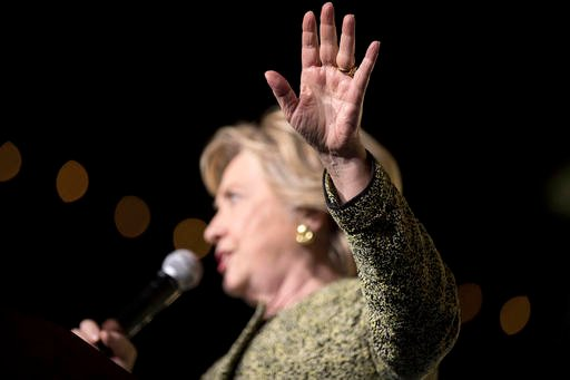 (AP Photo/Andrew Harnik). Democratic presidential candidate Hillary Clinton speaks at a rally at the Smith Center for the Performing Arts in Las Vegas, Wednesday, Oct. 12, 2016.