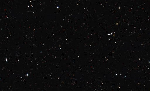(NASA, ESA/Hubble via AP). This image made available by NASA, ESA/Hubble on Thursday, Oct. 13, 2016 shows a portion of the southern field of the Great Observatories Origins Deep Survey to recalculate the total number of galaxies in the observable unive...