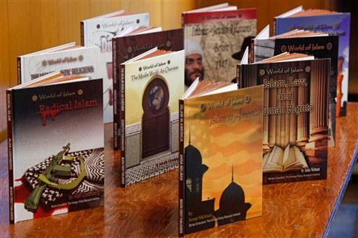 """Shown are """"World of Islam"""" books by Mason Crest Publishing before a news conference held by the Council on American-Islamic Relations."""