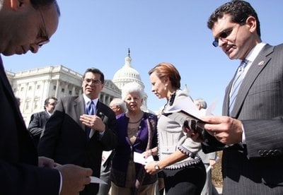 From left, Rep. Luis Gutierrez, D-Ill., Rep. Xavier Becerra, D-Calif, Rep. Grace Napolitano, D-Calif., Rep. Nydia Velazquez, D-NY and Rep. Pedro Pierluisi, D-PR, are seen before announcing their support.