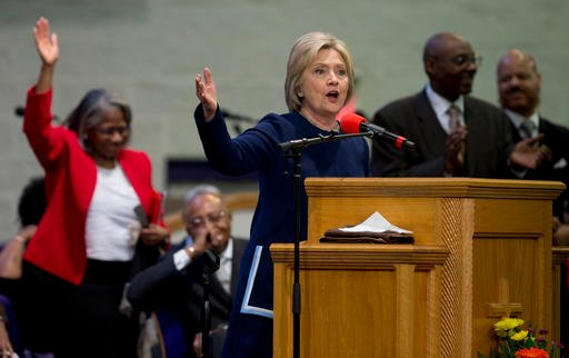 (AP Photo/Carolyn Kaster). FILE - In this Sunday, March 13, 2016 file photo, Democratic presidential candidate Hillary Clinton speaks during service at Mount Zion Fellowship Church in Highland Hills, Ohio. A key aspect of Methodism _ social justice _ c...