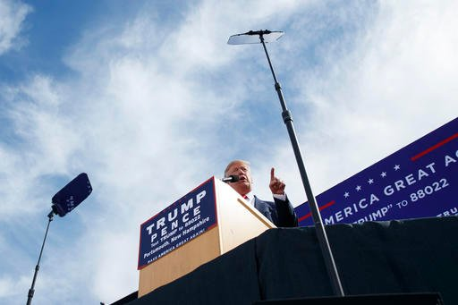 (AP Photo/ Evan Vucci). Republican presidential candidate Donald Trump speaks during a campaign rally, Saturday, Oct. 15, 2016, in Portsmouth, N.H.