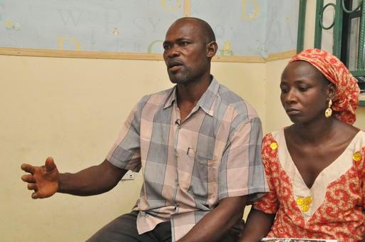 ( AP Photo/Gbemiga Olamikan). Abana Muta, left, and Hawa Abana, right, parents of Blessing Abana, one among of the freed twenty-one Chibok schoolgirls during an interview Nasarawa, Nigeria, Saturday, Oct. 15, 2016. Conflicting reports emerged Friday ab...