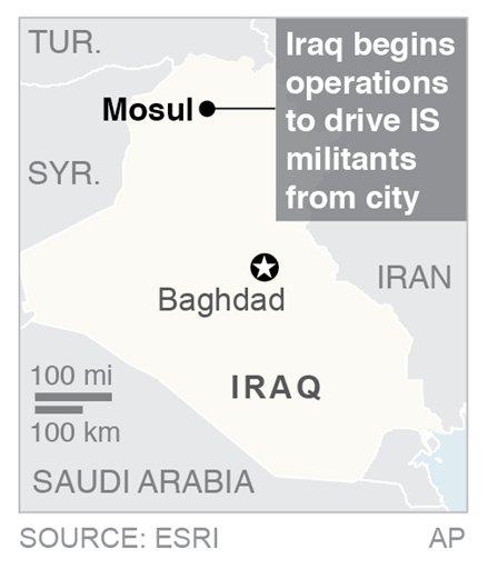 Map locates Mosul, Iraq; 1c x 2 inches; 46.5 mm x 50 mm;