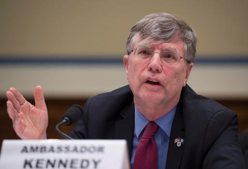 (AP Photo/Molly Riley, File). FILE - In this Sept. 8, 2016 file photo, Undersecretary of State for Management Patrick Kennedy testifies on Capitol Hill in Washington. Kennedy sought last year for the FBI to change the classification level of an email ...