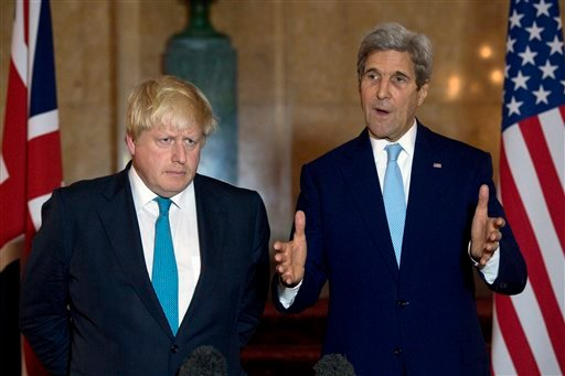 (Justin Tallis/PA via AP). Britain's Foreign Secretary Boris Johnson, left, and U.S Secretary of State John Kerry speak to the media during a joint press conference in London, Sunday, Oct. 16, 2016. With military options all but eliminated, the United ...