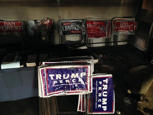 (AP Photo/Jonathan Drew). Melted campaign signs are seen at the Orange County Republican Headquarters in Hillsborough, NC on Sunday, Oct. 16, 2016. Someone threw flammable liquid inside a bottle through a window overnight and someone spray-painted an ...