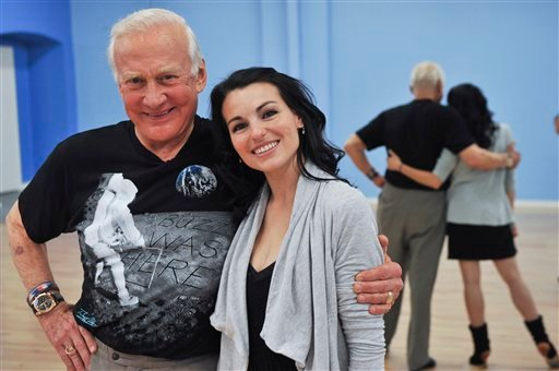 """Former astronaut Buzz Aldrin, left, is seen during rehearsals with professional dancer Ashly DelGrosso-Costa for their upcoming appearance on """"Dancing With The Stars"""" on Thursday March 18, 2010, in Los Angeles. (AP Photo/ Vince Bucci)"""