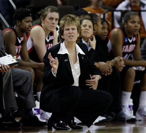 San Diego State coach Beth Burns gives direction to her team during an NCAA first-round college basketball game against Texas, Sunday, March 21, 2010, in Austin, Texas. San Diego State won 74-63 and will face West Virginia in a second-round game Tuesday.