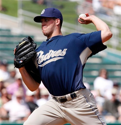 San Diego Padres starting pitcher Clayton Richard works the first inning against the Arizona Diamondbacks in a spring training baseball game in Tucson, Ariz., on Monday, March 22, 2010. (AP Photo/Ed Andrieski)