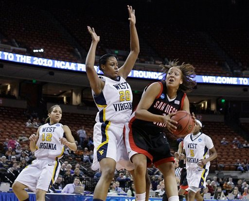 San Diego State's Jessika Bradley, right, works against West Virginia's Asya Bussie (20) during the first half of a second-round NCAA college basketball game Tuesday, March 23, 2010, in Austin, Texas. (AP Photo/Eric Gay)