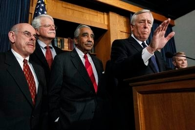 House Majority Leader Steny Hoyer, front right, D-Md.; with, from left, Reps. Henry Waxman, D-Calif.; George Miller, D-Calif.; Charles Rangel, D-N.Y.; Hoyer; and Dale Kildee, D-Mich.