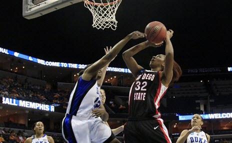 Duke's Karima Christmas (13) blocks a shot by San Diego State center Paris Johnson (32) in the first half of an NCAA Memphis Regional semifinal college basketball game Saturday, March 27, 2010, in Memphis, Tenn. (AP Photo/Lance Murphey)
