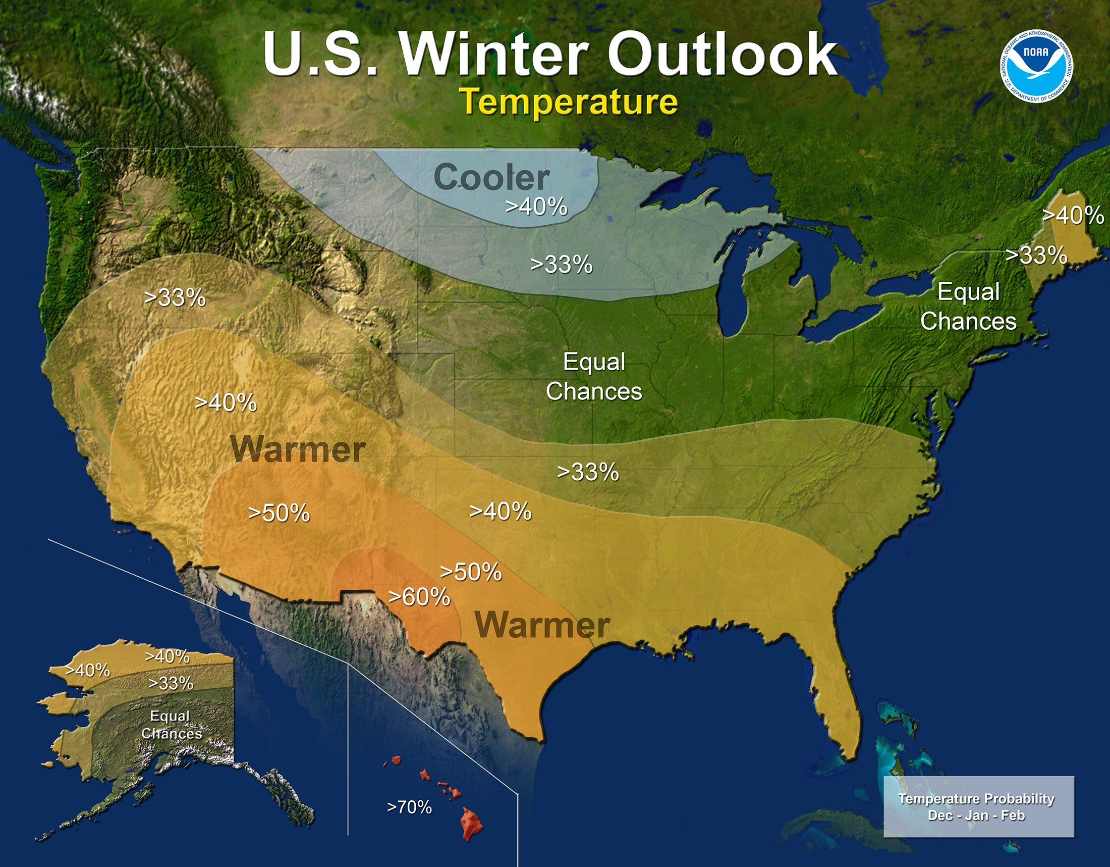 This map provided by NOAA shows the winter temperature outlook for the U.S. Federal forecasters say thanks to a nascent La Nina it is likely to be warmer and drier than normal down south, colder and wetter up north and in the middle it's hard to say what'