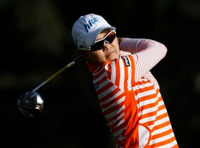 Hee Kyung Seo, of South Korea, hits her tee shot on the ninth hole during the second round of the LPGA Kia Classic golf tournament at La Costa in Carlsbad, Calif. Friday, March 26, 2010. (AP Photo/Denis Poroy)