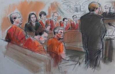 This courtroom drawing shows David Brian Stone Sr., 44, of Clayton, Mich,, center; and counterclockwise from foreground left, Michael David Meeks, 40, of Manchester, Mich.; Kristopher T. Sickles, 27, of Sandusky, Ohio; Tina Mae Stone.