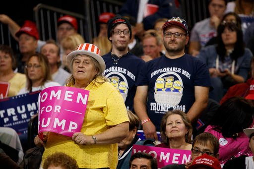 (AP Photo/ Evan Vucci). Supporters of Republican presidential nominee Donald Trump listen to him speak during a campaign rally, Saturday, Oct. 22, 2016, in Cleveland.