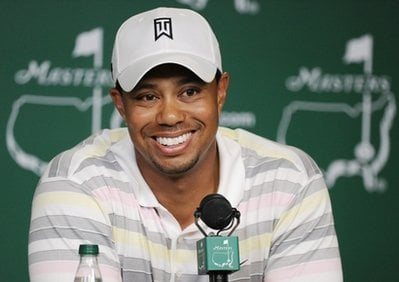 Tiger Woods speaks during his press conference at the Masters golf tournament in Augusta, Ga., Monday, April 5, 2010. The tournament begins Thursday, April, 8. (AP Photo/Harry How, Pool)