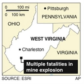 Map locates where a mine explosion in West Virginia left multiple fatalities.