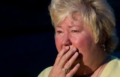 Jenny Waycaster waits for news of her son, Ken Lambert, following a mining accident near Montcoal, W.Va. Monday, April 5, 2010.
