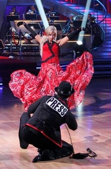In this publicity image released by ABC, Kate Gosselin and her partner Tony Dovolani perform on 'Dancing with the Stars,' Monday, April 5, 2010 in Los Angeles. (AP Photo/ABC, Adam Larkey)
