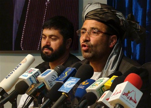 Gulab Mangul, the governor of Helmand, right, addresses the media during a press conference in Lashkar Gah, Helmand province, south of Kabul, Afghanistan, Saturday, April 10, 2010. (AP Photo/Abdul Khaliq)