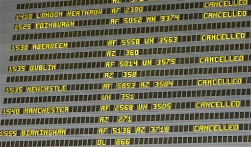 A flight departure infromation screen shows cancellations Thursday April. 15, 2010, at Roissy airport, north of Paris. (AP Photo/Jacques Brinon)