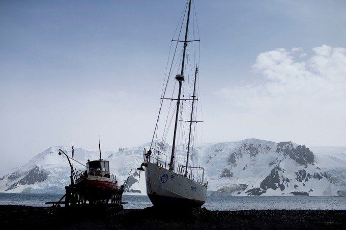 In this Jan. 27, 2015 file photo, boats sit on the beach at Bahia Almirantazgo, in Antarctica. The countries that decide the fate of Antarctica agreed on Friday to create the world's largest marine protected area in the ocean next to the frozen continent.