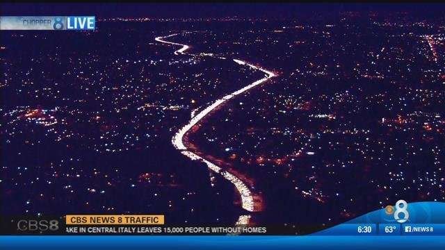 This is a view of northbound I-805 from Chopper 8. (Monday, October 31, 2016)