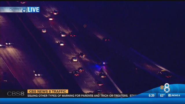 Crash on northbound I-805 at SR-163 (Chopper 8/Monday, October 31, 2016)