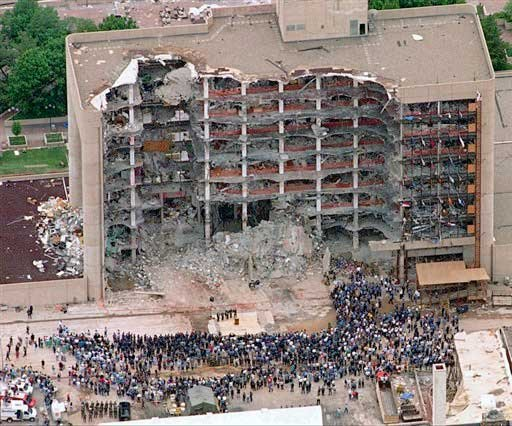 In this May 5, 1995 file photo, thousands of search and rescue crews attend a memorial service in front of the Alfred P. Murrah Federal Building in Oklahoma City. More than 600 people were injured in the April 19, 1995 attack and 168 people were killed.