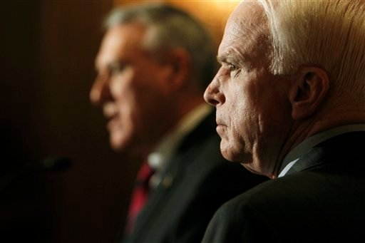Sen. John McCain, R-Ariz., and Sen. Jon Kyl, R-Ariz., speak about a border security plan to fight illegal immigration and criminal activity along the Arizona-Mexico border.