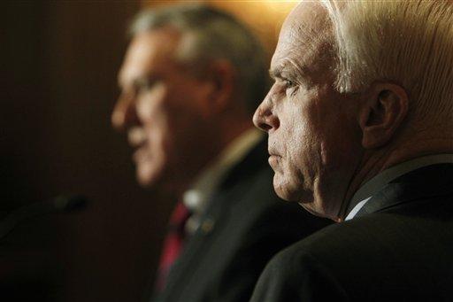 Sen. John McCain, R-Ariz., and Sen. Jon Kyl, R-Ariz., speak about a border security plan to fight illegal immigration and criminal activity along the Arizona-Mexico border.