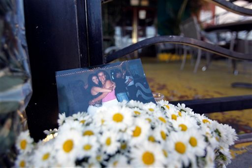 Flowers on a sidewalk memorial with a snapshot of Monica Beresford-Redman and her longtime friend Mariza Alyrio, are seen outside the closed Zabumba Brazilian restaurant that Monica owned, in Los Angeles Thursday, April 8, 2010. (AP Photo/Reed Saxon)