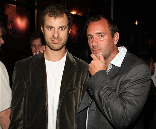 FILE - In this Sept. 21, 2008 file photo, Matt Stone, left, and Trey Parker attend the Comedy Central Emmy After Party in Los Angeles. (AP Photo/Shea Walsh, file)