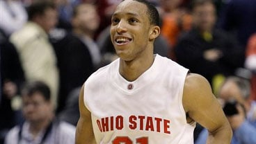This March 12, 2010, file photo shows Ohio State's Evan Turner celebrating his game winning shot against Michigan in an NCAA college basketball game in the quarterfinals of the Big Ten conference tournament in Indianapolis. (AP Photo/Michael Conroy, File)