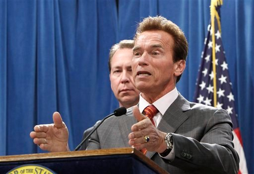Gov. Arnold Schwarzenegger tells reporters that there will be no fire sale of California state office buildings during a Capitol news conference in Sacramento, Calif., Wednesday, April 21, 2010.