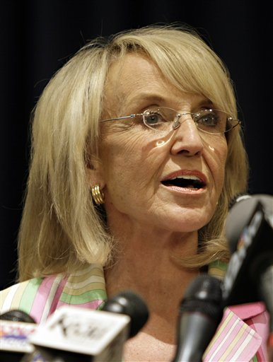 This April 14, 2010 photo shows Arizona Governor Jan Brewer at the Capitol in Phoenix.
