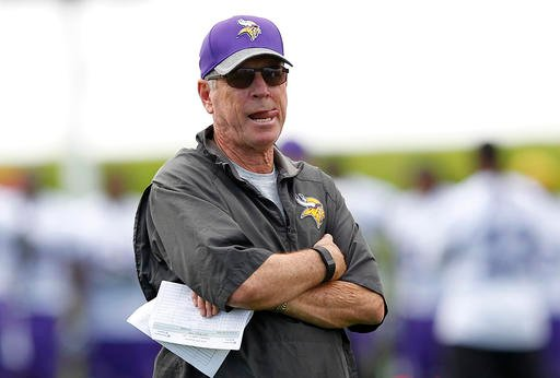 In this July 29, 2016, file photo, Minnesota Vikings offensive coordinator Norv Turner looks on during the first day of the NFL teams training camp at Mankato State University in Mankato, Minn. Vikings offensive coordinator Norv Turner has resigned.