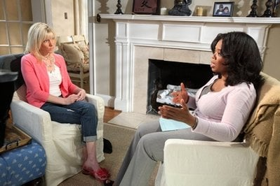 This photo released April 23, 2010, by Harpo Productions shows Oprah Winfrey during an interview with Rielle Hunter at Hunter's home in Charlotte, North  Carolina.